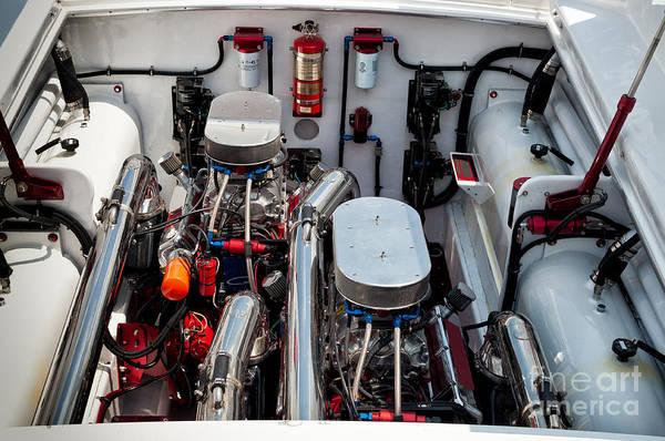 Photograph - Custom Power Boat Engine by Les Palenik