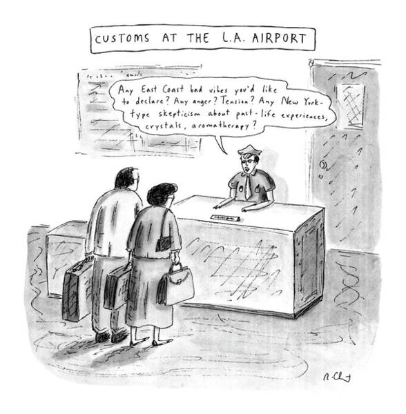 Anger Drawing - Customs At The L.a. Airport by Roz Chast