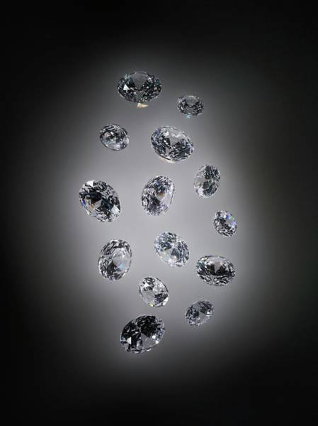 Wall Art - Photograph - Cut And Polished Diamonds by Patrick Llewelyn-davies/science Photo Library