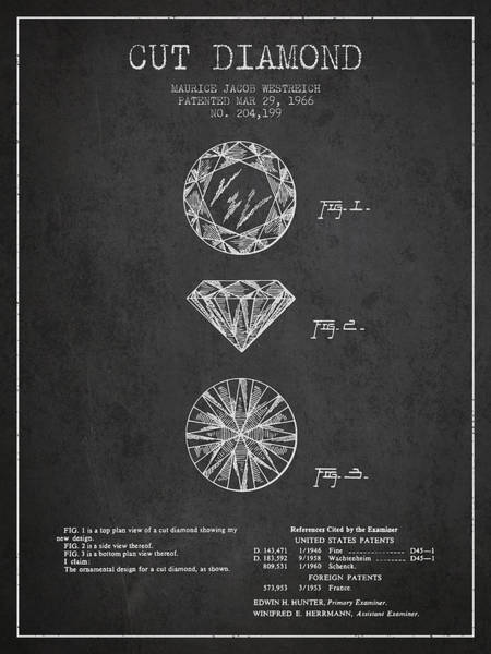 Wall Art - Digital Art - Cut Diamond Patent From 1966 - Dark by Aged Pixel