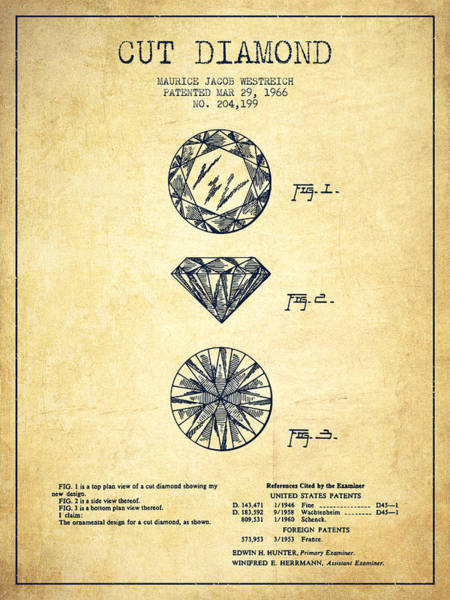 Gold Digital Art - Cut Diamond Patent From 1966 - Vintage by Aged Pixel