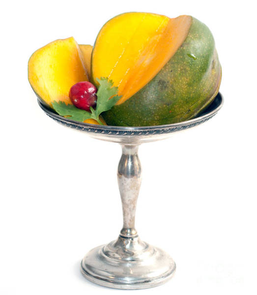 Photograph - Cut Mango On Sterling Silver Dish by Gunter Nezhoda