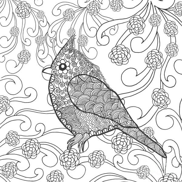 White Background Wall Art - Digital Art - Cute Bird In Fantasy Flower Garden by Palomita