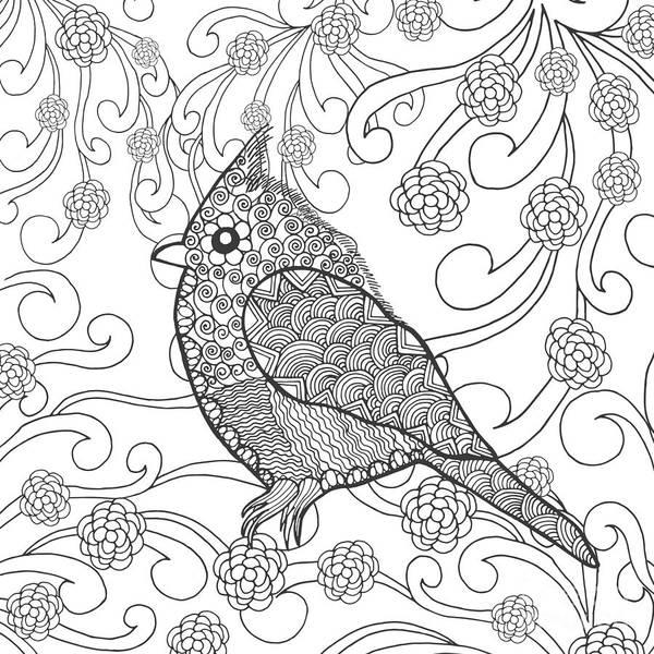 Feather Digital Art - Cute Bird In Fantasy Flower Garden by Palomita