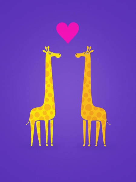 Wall Art - Painting - Cute Cartoon Giraffe Couple In Love Purple Edition by Philipp Rietz