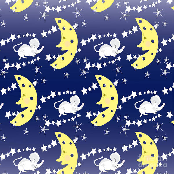 Wall Art - Digital Art - Cute Childish Seamless Pattern With by Erika Mihaljev