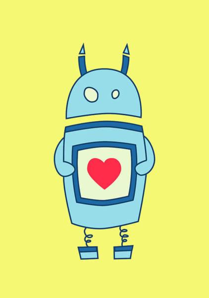 Robot Digital Art - Cute Clumsy Robot With Heart by Boriana Giormova