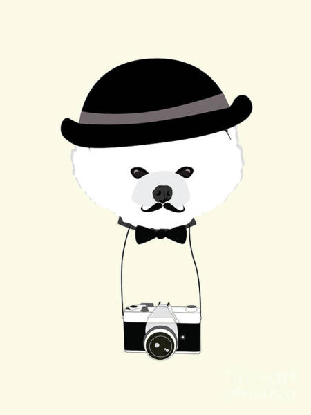 Wall Art - Digital Art - Cute Dog Photographer With Old Camera by The Cute Design Studio