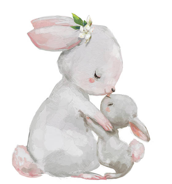Cute Digital Art - Cute Hares Couple - Mom And Kid by Cofeee