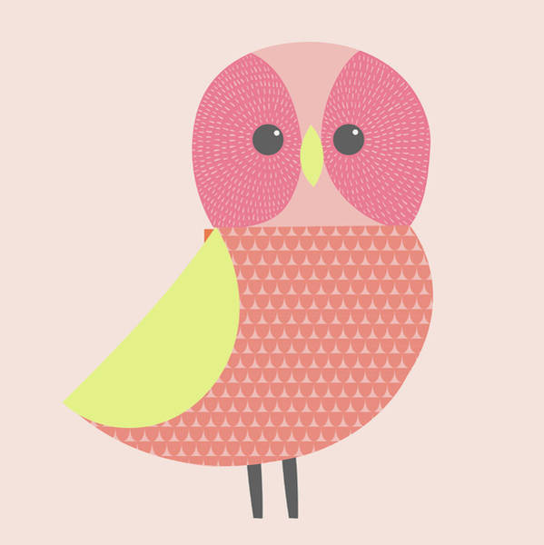 Digital Art - Cute Illustration Of Pink And Green Owl by Alice Potter