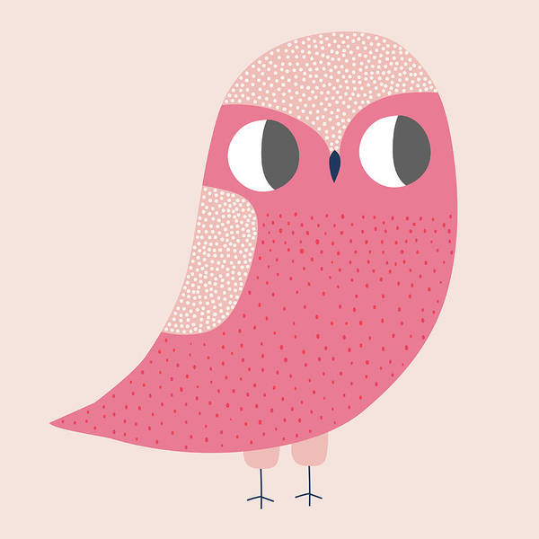 Digital Art - Cute Illustration Of Pink Owl by Alice Potter