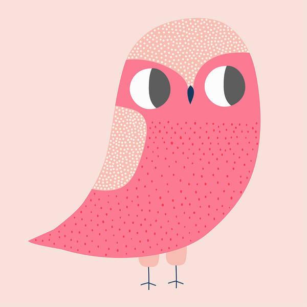 Wall Art - Photograph - Cute Illustration Of Pink Owl by Ikon Ikon Images