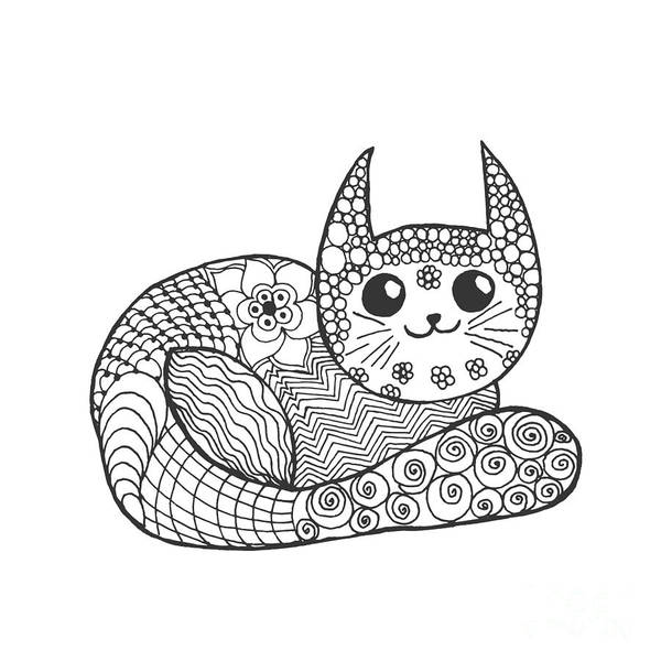 African Tribal Digital Art - Cute Kitten. Black White Hand Drawn by Palomita