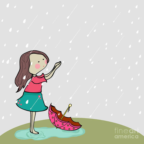 Wall Art - Digital Art - Cute Little Girl Enjoying Rains On by Allies Interactive