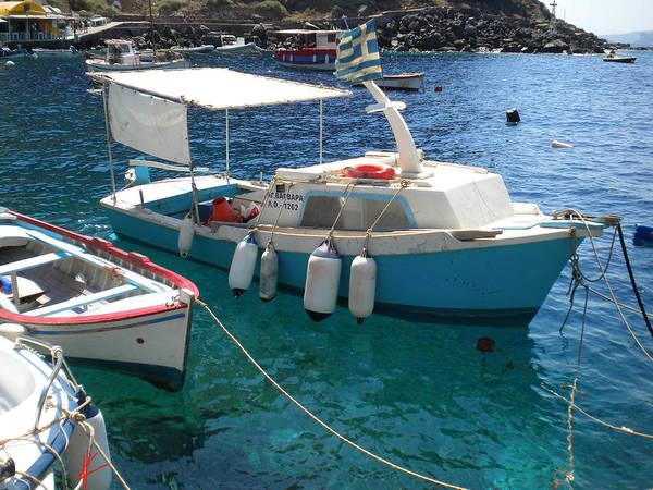 Photograph - Cute Little Santorini Fish Boats by Colette V Hera  Guggenheim