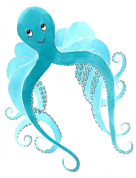 Octopus Painting - Cute Octopus Painting by Christy Beckwith