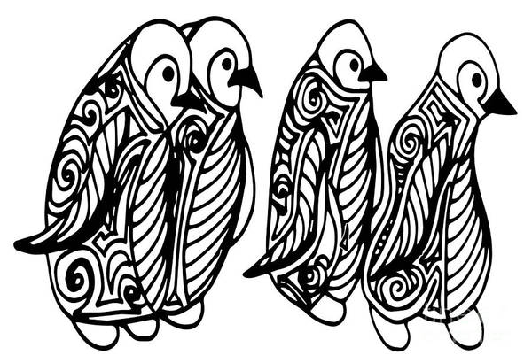 African Tribal Digital Art - Cute Of Four Penguins. Adult by Santy Kamal