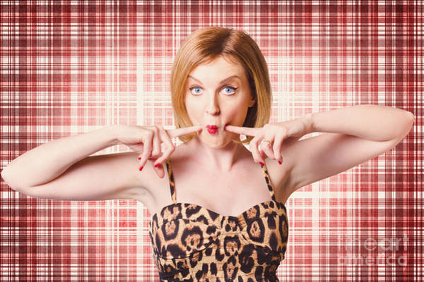 Rights-managed Wall Art - Photograph - Cute Pin-up Woman Making A Cheeky Point by Jorgo Photography - Wall Art Gallery