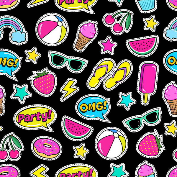 Cute Digital Art - Cute Summer Seamless Colorful Pattern by Ekaterina Bedoeva