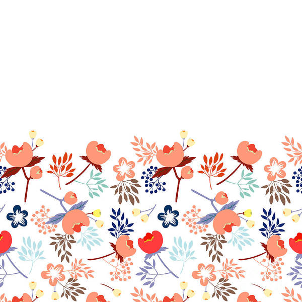 Wall Art - Digital Art - Cute Vector Seamless Pattern With by Vavavka