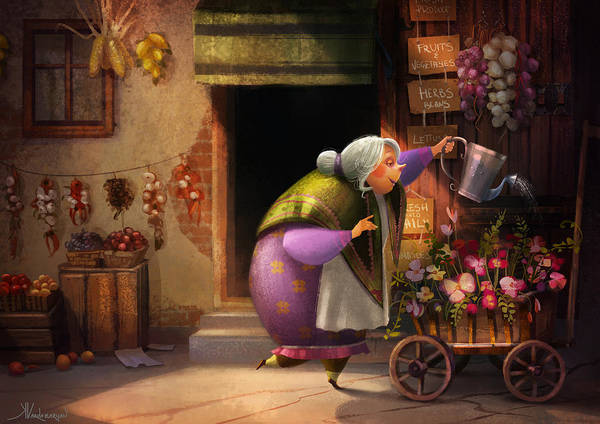 Shops Painting - Cute Village Flower Shop by Kristina Vardazaryan