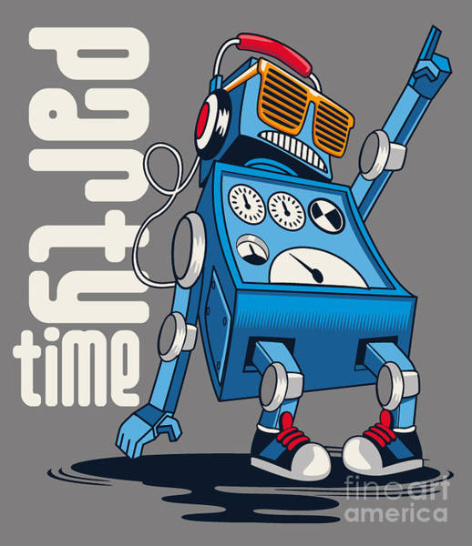 Wall Art - Digital Art - Cute Vintage Dancer Robot, Party, Vector by Braingraph