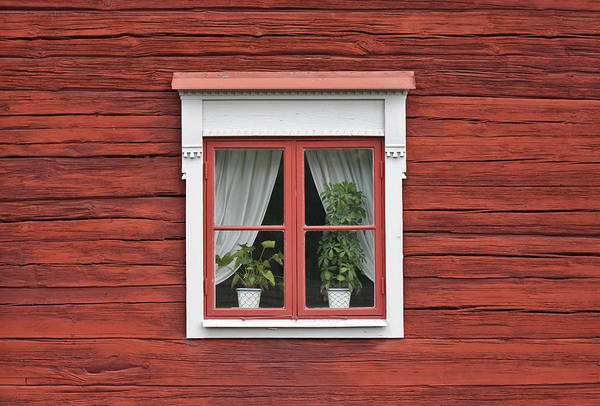Photograph - Cute Window On Red Wall by Dreamland Media