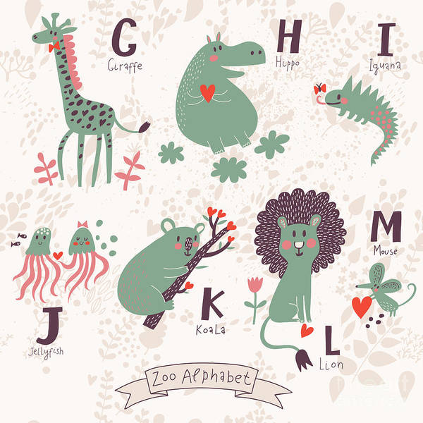 Iguana Digital Art - Cute Zoo Alphabet In Vector. G, H, I by Smilewithjul