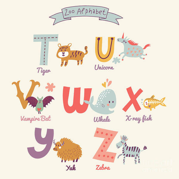 Unicorn Digital Art - Cute Zoo Alphabet In Vector. T, U, V by Smilewithjul