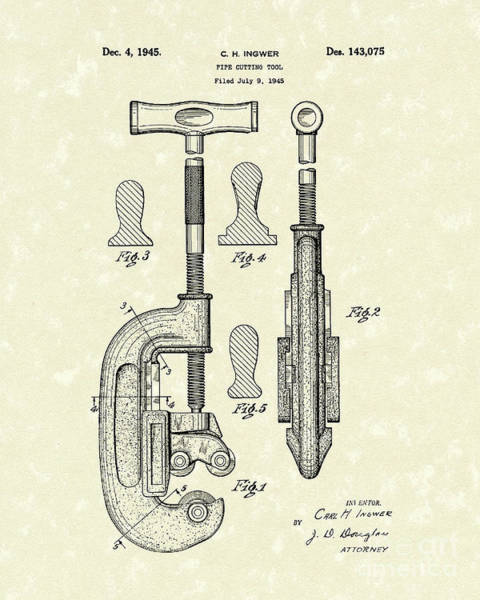 Drawing - Cutting Tool 1945 Patent Art by Prior Art Design