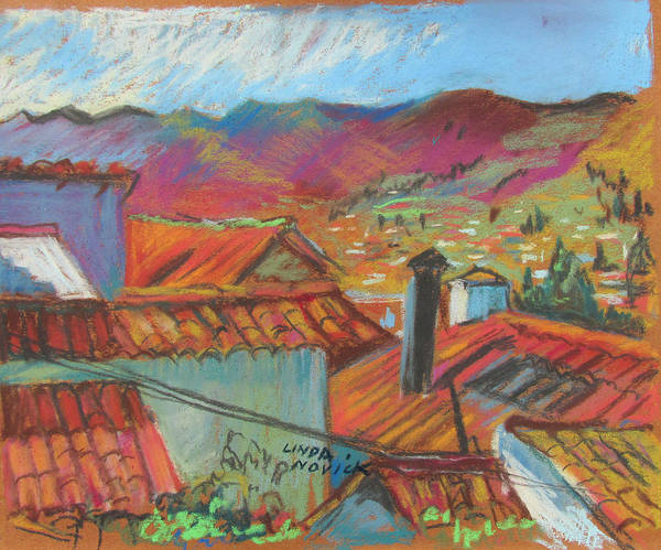 Painting - Cuzco Rooftops by Linda Novick