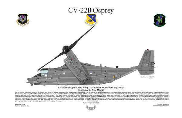 Bell Digital Art - Cv-22b Osprey 20th Sos by Arthur Eggers