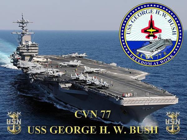 Uss George H W Bush Wall Art - Digital Art - Cvn 77 Uss George H. W. Bush by Mil Merchant