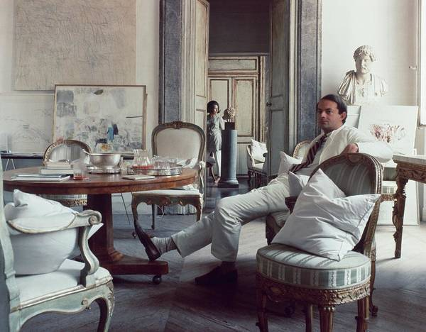 Apartment Photograph - Cy Twombly Sitting In His Apartment by Horst P. Horst