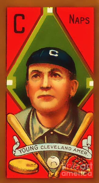 Photograph - Cy Young Cleveland Naps Baseball Card 0838 by Wingsdomain Art and Photography