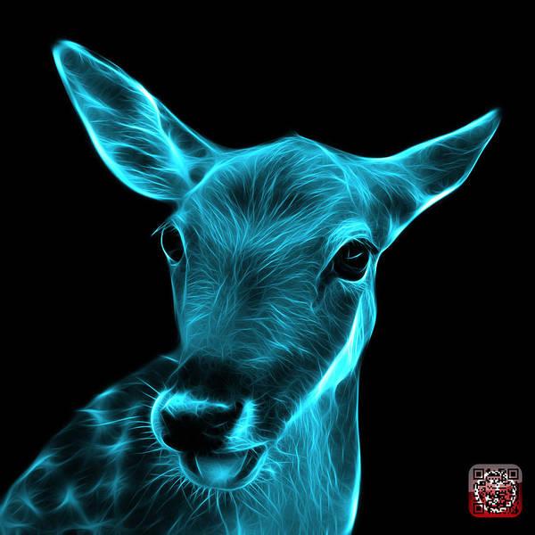 Digital Art - Cyan Deer - 0401 F by James Ahn