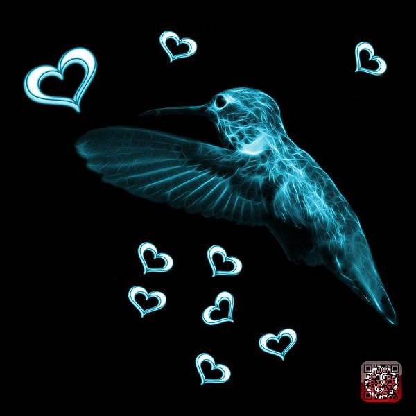 Digital Art - Cyan Hummingbird - 2055 F M by James Ahn