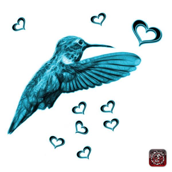 Digital Art - Cyan Hummingbird - 2055 F S M by James Ahn