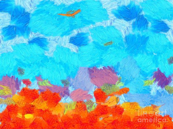 Trippy Wall Art - Painting - Cyan Landscape by Pixel Chimp