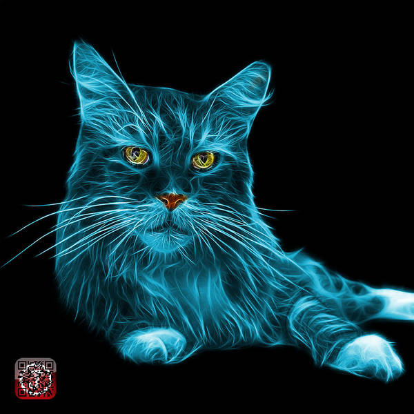Painting - Cyan Maine Coon Cat - 3926 - Bb by James Ahn