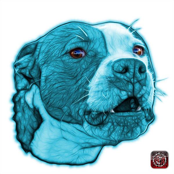 Mixed Media - Cyan Pitbull Dog Art - 7769 - Wb - Fractal Dog Art by James Ahn