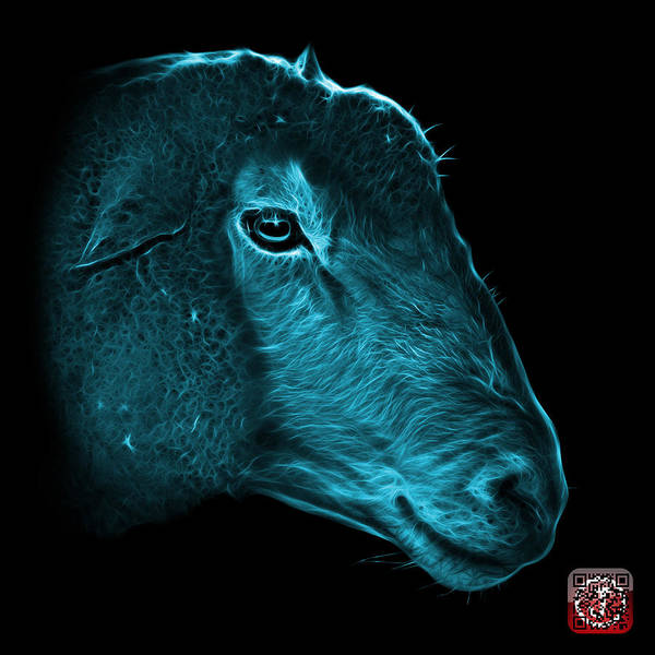 Digital Art - Cyan Polled Dorset Sheep - 1643 F by James Ahn