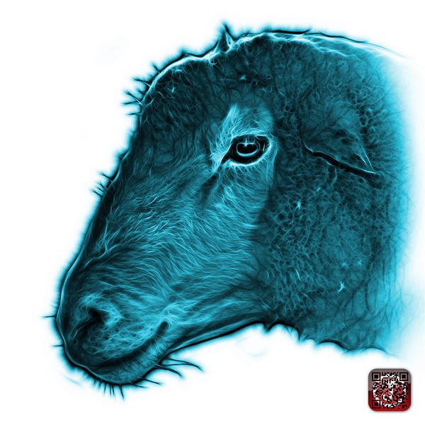 Digital Art - Cyan Polled Dorset Sheep - 1643 Fs by James Ahn