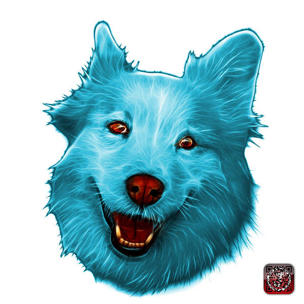 Painting - Cyan Siberian Husky Mix Dog Pop Art - 5060 Wb by James Ahn
