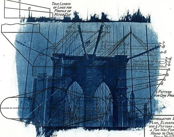 Linder Wall Art - Photograph - Cyanotype Brooklyn Bridge IIi by Jane Linders