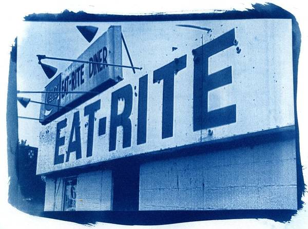 Wall Art - Photograph - Cyanotype Eat Rite Diner by Jane Linders