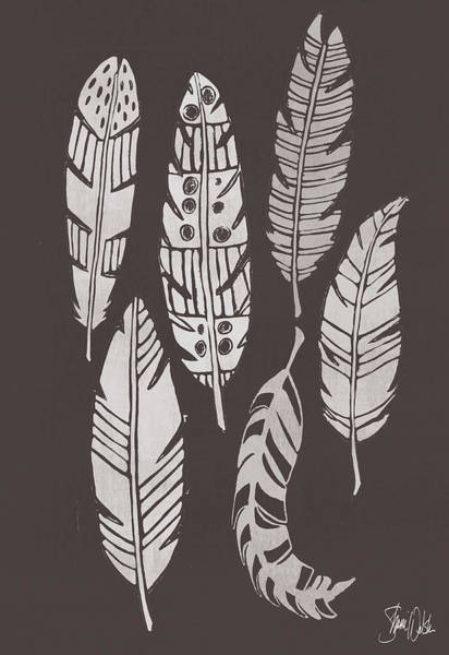 Wall Art - Painting - Cyanotype Feathers I by Shanni Welsh