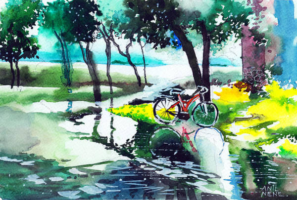 Painting - Cycle In The Puddle by Anil Nene