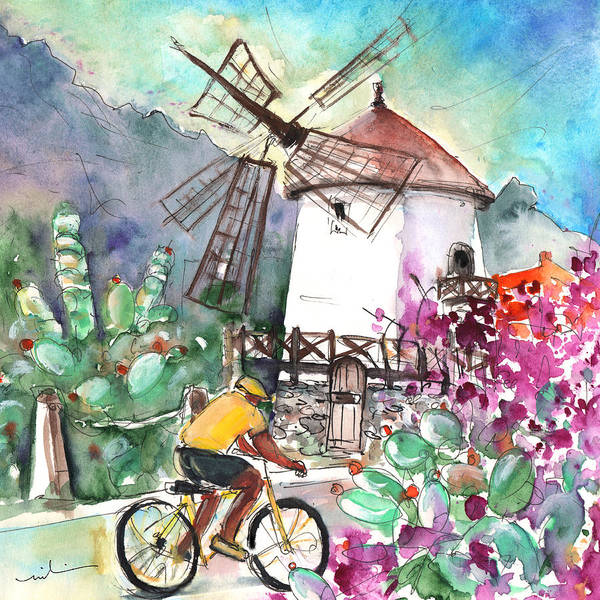Painting - Cycling In The Mountains Of Gran Canaria by Miki De Goodaboom