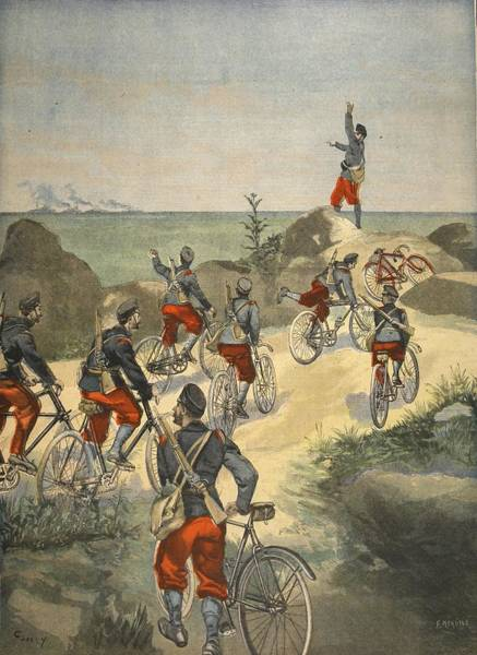 Soldier Drawing - Cycling Service Along The Coast by French School